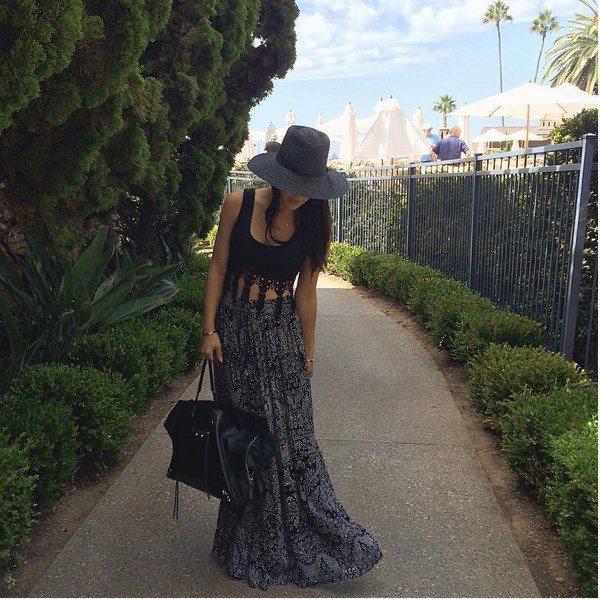 long skirt with black crop top bmodish