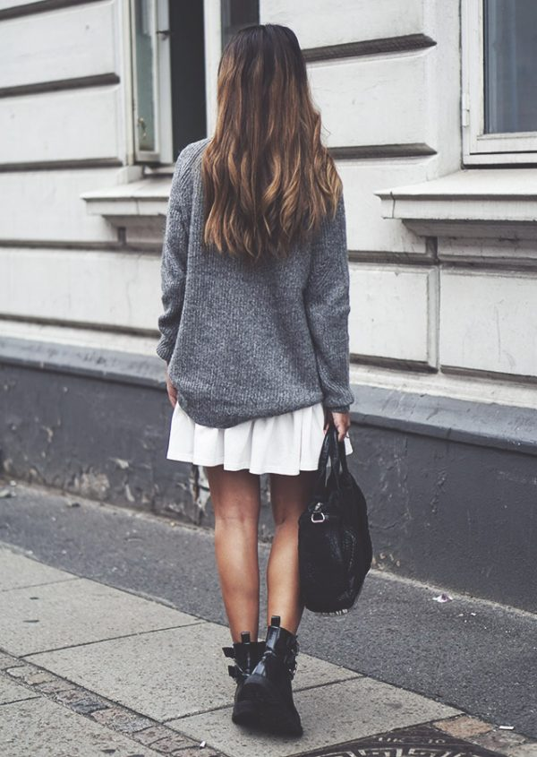 long sweater with mini skirt bmodish