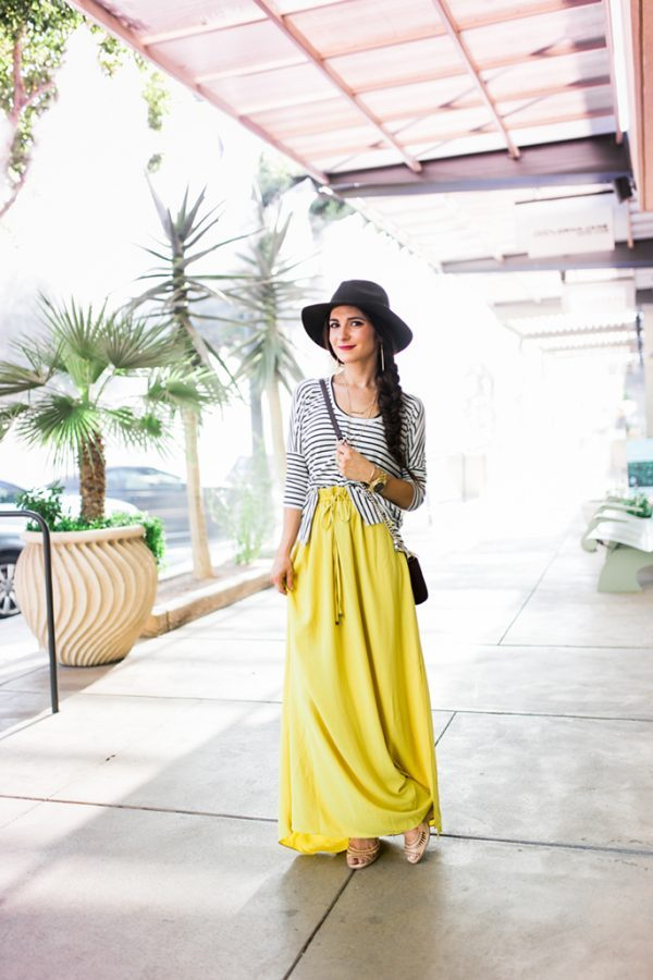 long yellow skirt with striped top bmodish