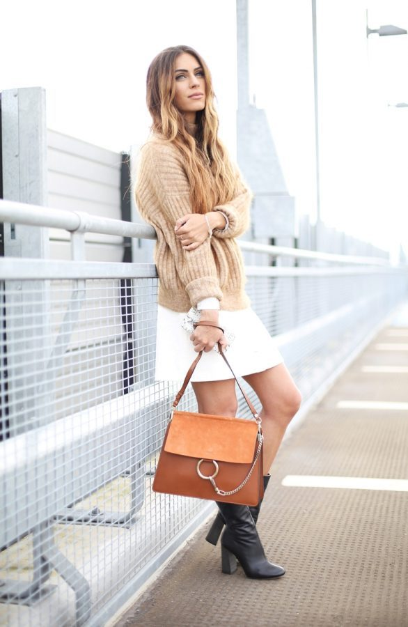 neutral sweater with white skirt bmodish
