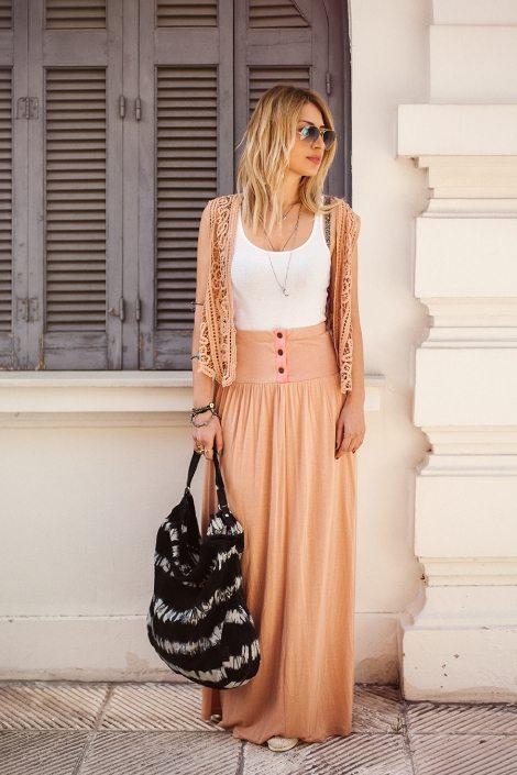 peach long skirt hippie style bmodish