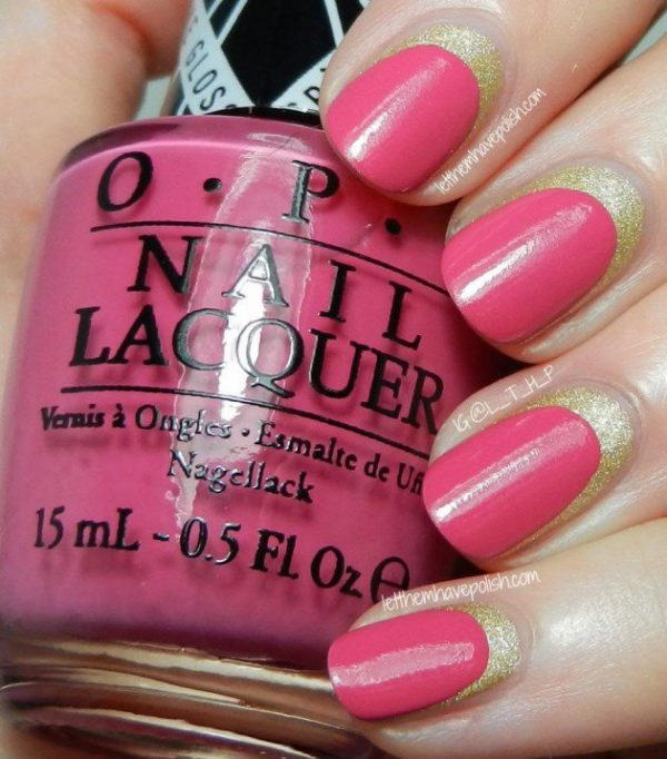 pink and gold ruffian nails bmodish