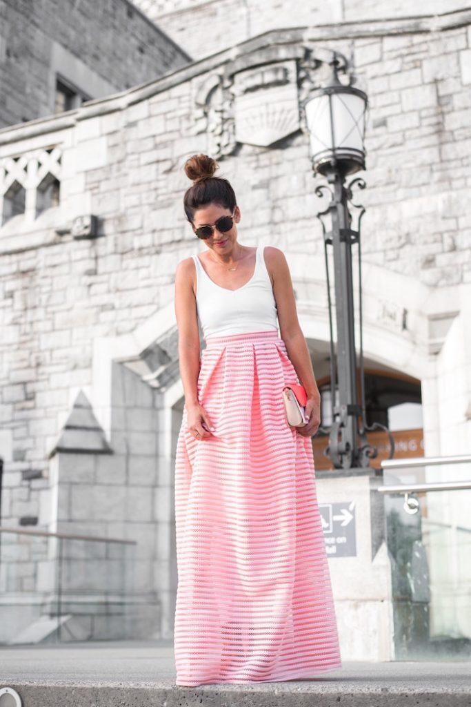 pink long skirt with tank top bmodish