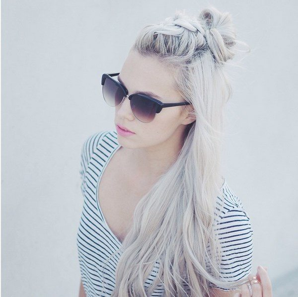 platinum hair top knot bmodish