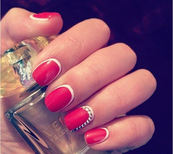 red and white ruffian nails bmodish
