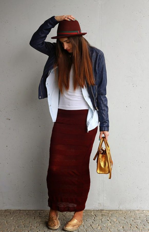 red long knit skirt bmodish