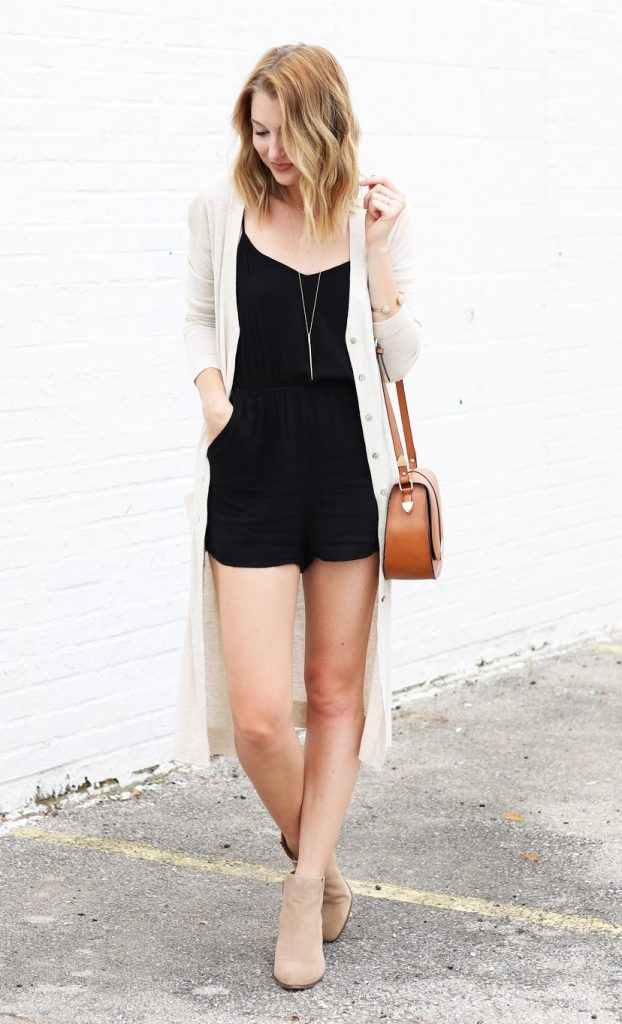 romper with cardigan for fall bmodish