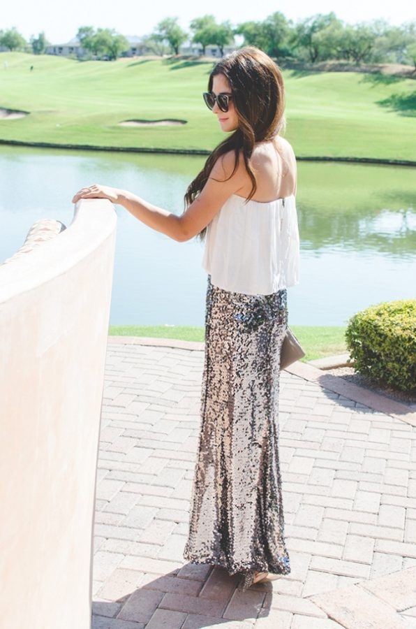 sequin maxi skirt outfit bmodish
