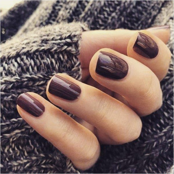 simple brown autumn nail design bmodish