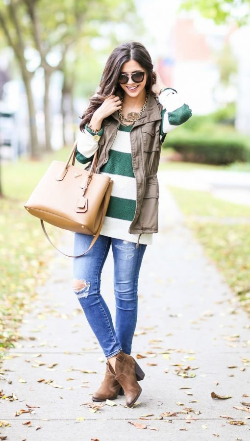 utility vest, striped sweater fall outfit bmodish