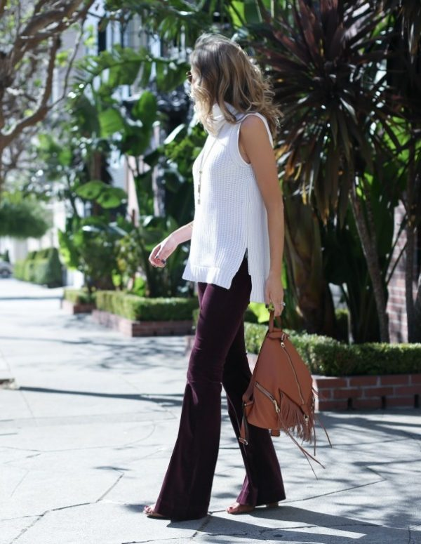 velvet burgundy purple flared pants bmodish