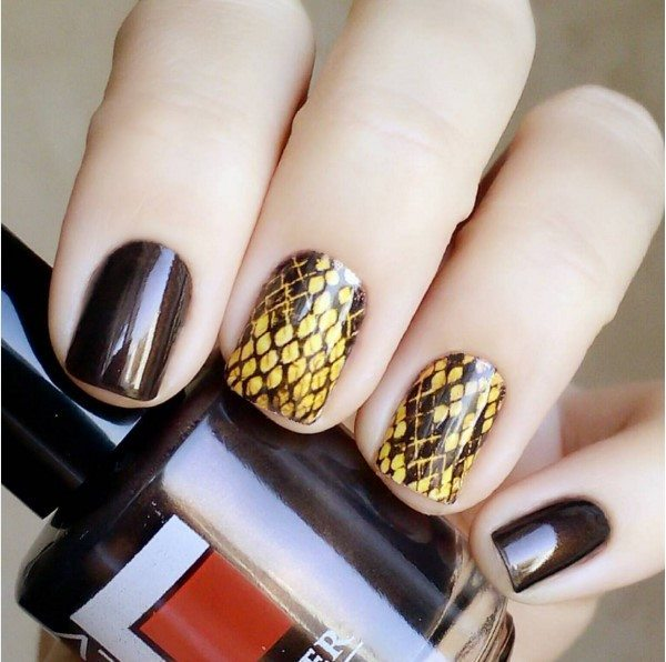 waterdecals brown nail art bmodish