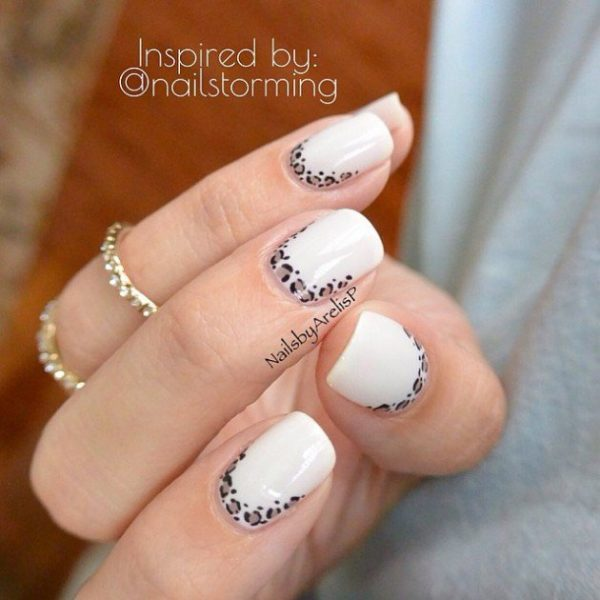 white and leopard ruffian nail art bmodish