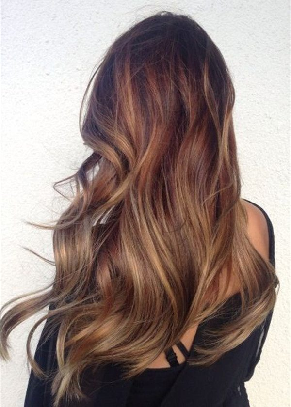 Brown ombre hair color long balayage hairstyle trend of 2015 fall bmodish