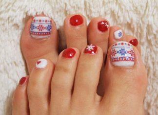 christmas toe nail design