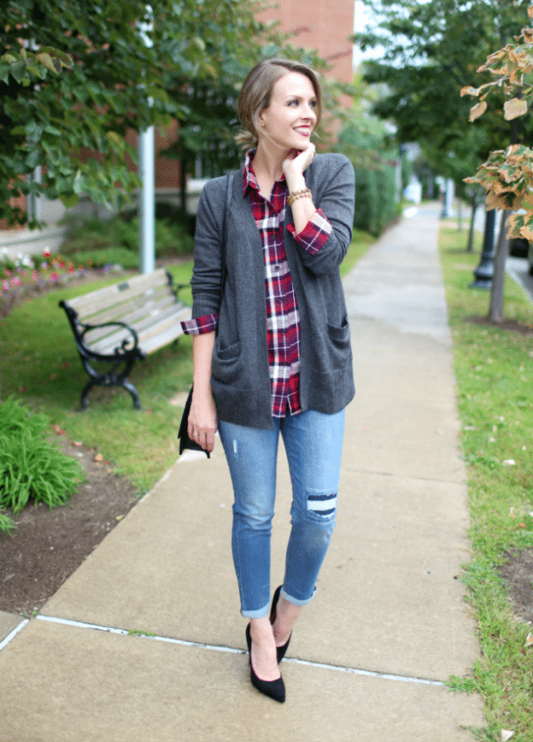 Classic plaid with cardigan bmodish