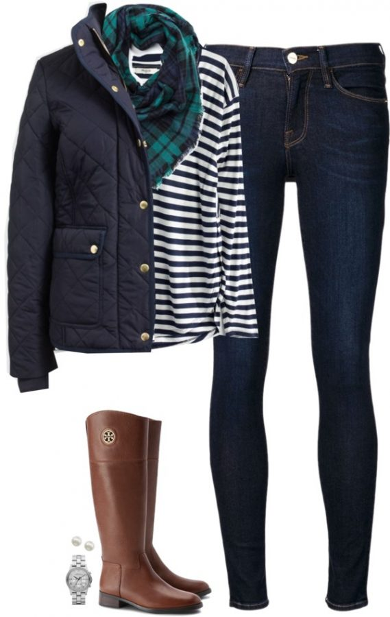 J crew quilted jacket riding boot fall outfit polyvore bmodish
