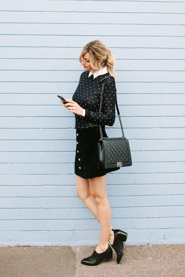 Polka Dot Sweater Mini Skirt fall outfit preppy style bmodish