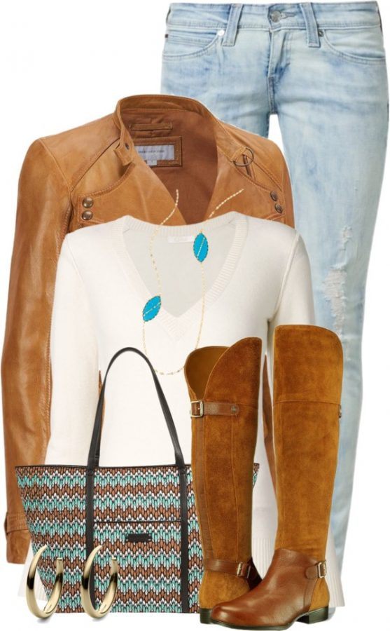 Vera Bradley Trimmed Vera Traveler Tote brown jacket with riding boots outfit bmodish