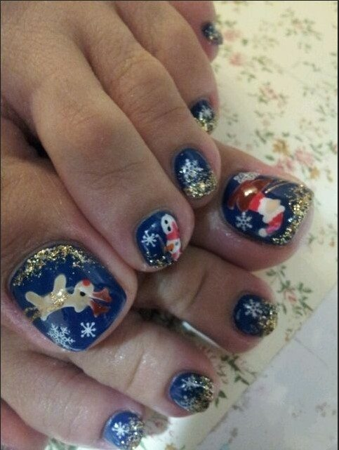 blue and gold holiday toe nail design bmodish