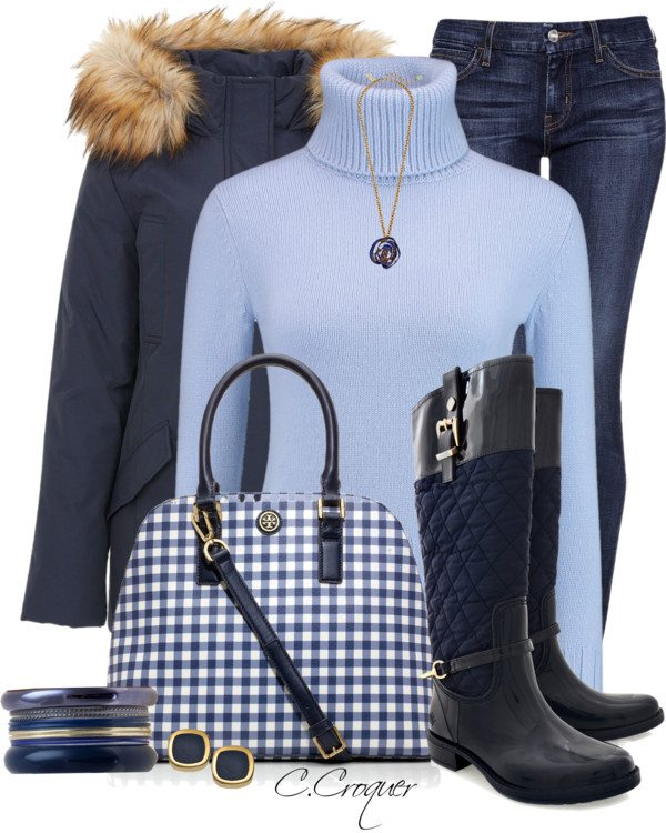 blue on blue fall winter outfit polyvore bmodish