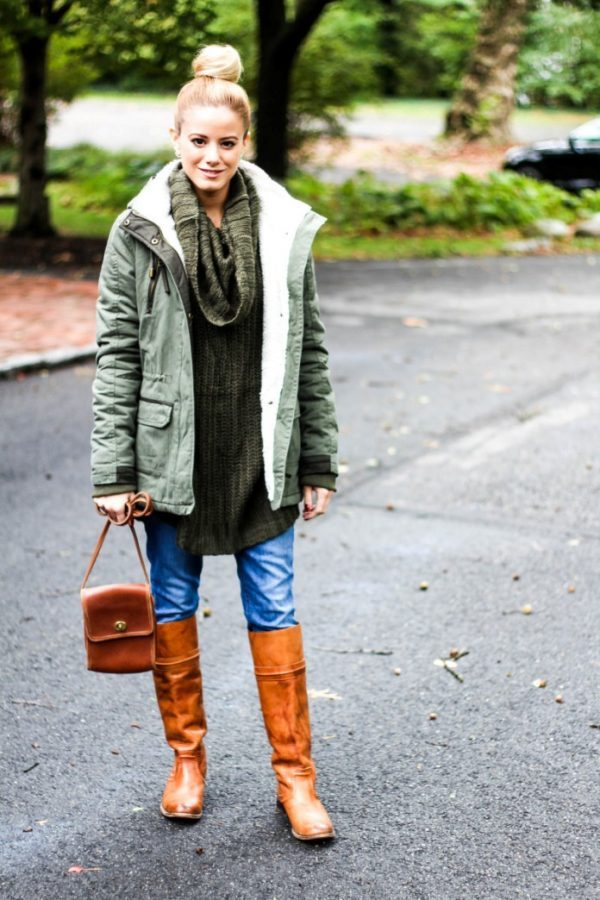 brown boots oversize sweater and parka cozy fall winter outfit bmodish