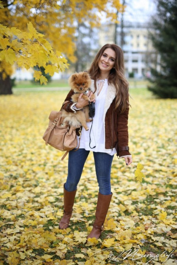 brown boots with brown shearling jacket bmodish