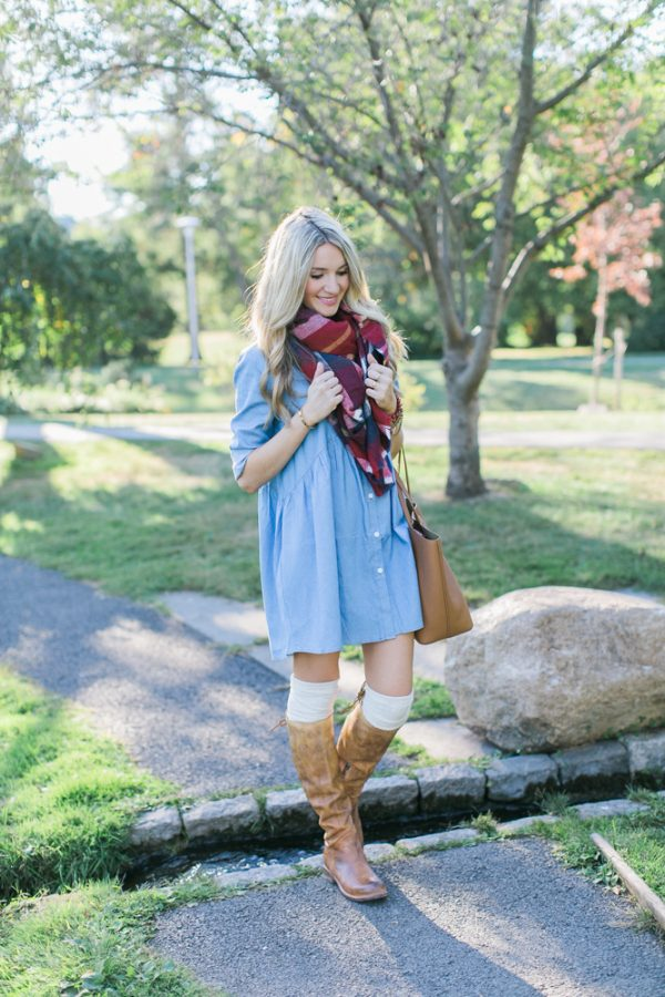 brown boots with chambray dress cute outfit bmodish