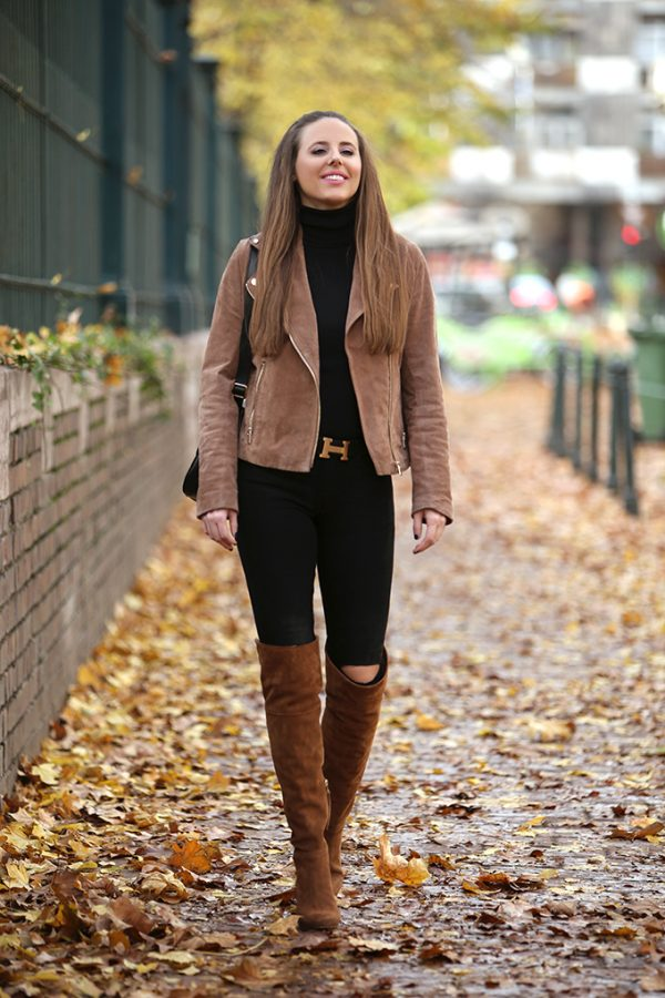brown suede jacket with brown tall boots outfit bmodish