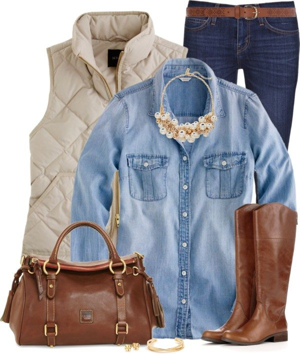 casual chambray shirt with neutral vest and riding boots bmodish