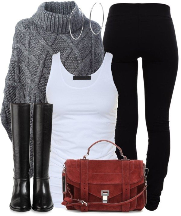 casual fall outfit with poncho and leggings bmodish