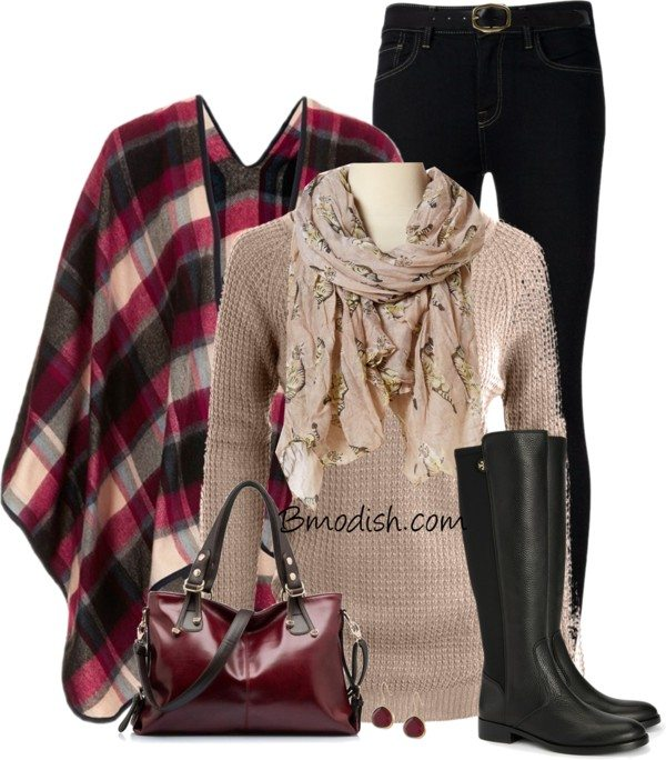 check print cape cute fall outfit polyvore bmodish
