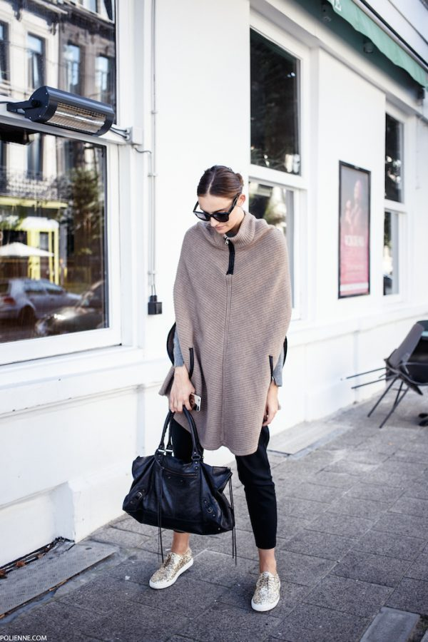 chic-casual-style-glitter sneakers knit poncho fall outfit bmodish
