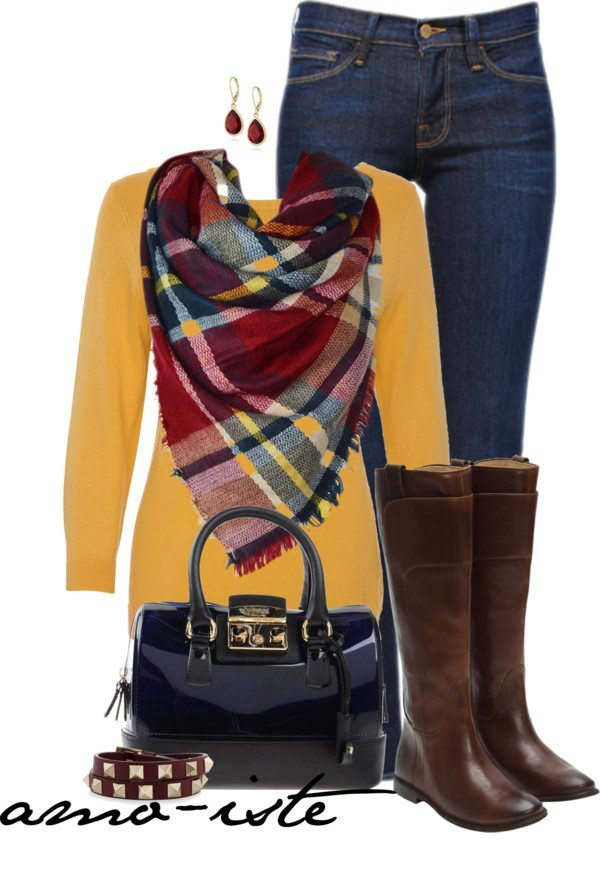 cozy blanket scarf casual fall outfit bmodish