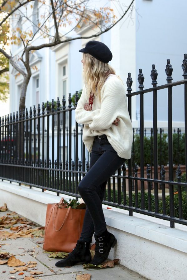 cozy knit oversize sweater with skinny jeans bmodish