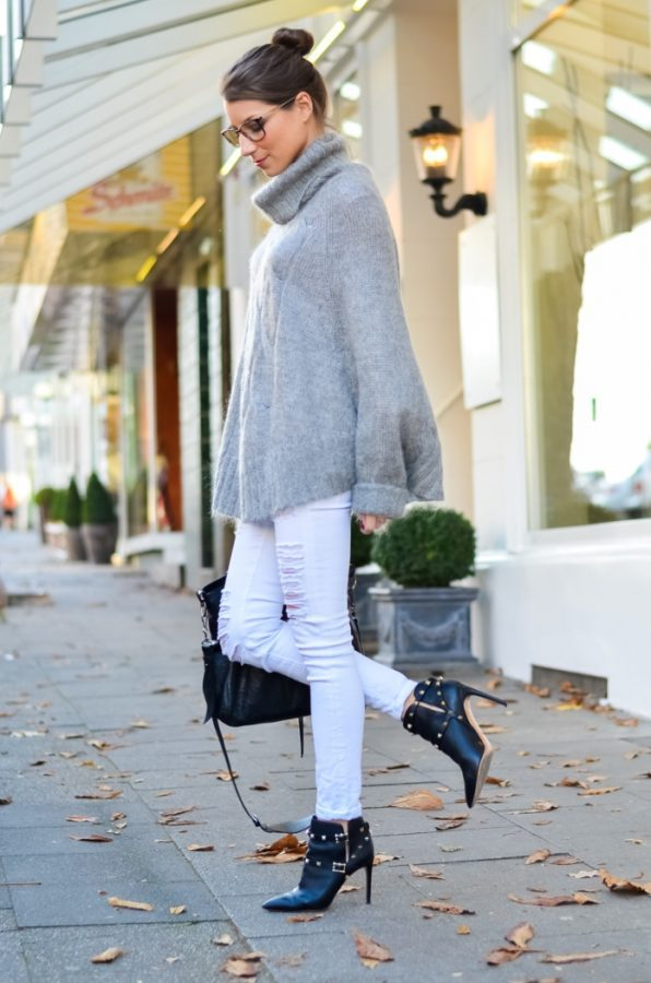 cozy knit poncho fall outfit bmodish