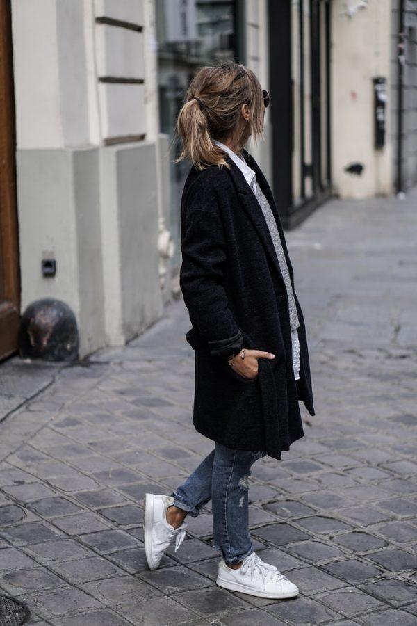 cozy long black coat casual fall outfit bmodish