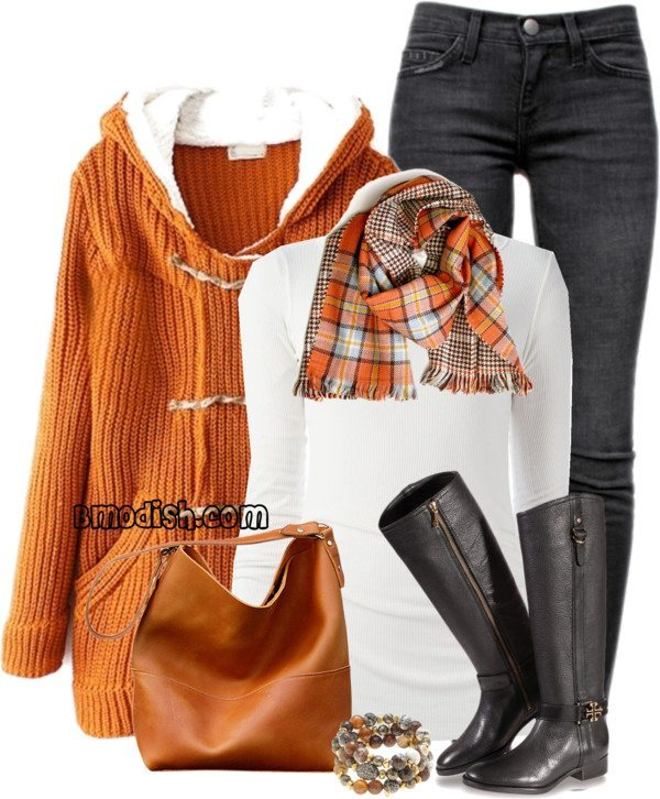 cozy orange knitted hoodie casual fall outfit bmodish