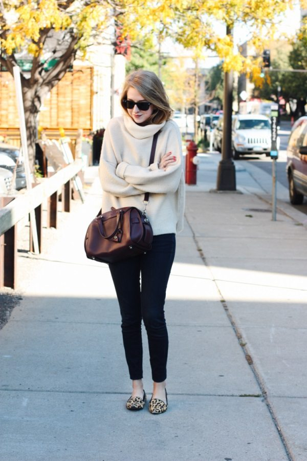 cozy oversize turtleneck sweater with leopard flats fall outfit bmodish