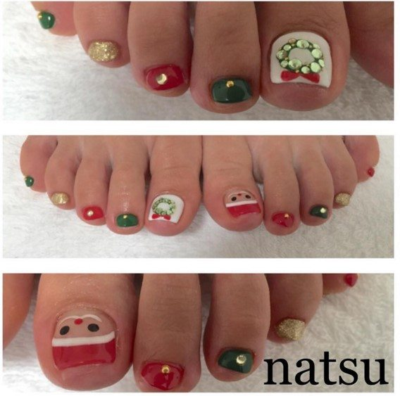 cute christmas toe nail design bmodish