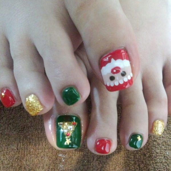 cute santa claus toe nail design bmodish