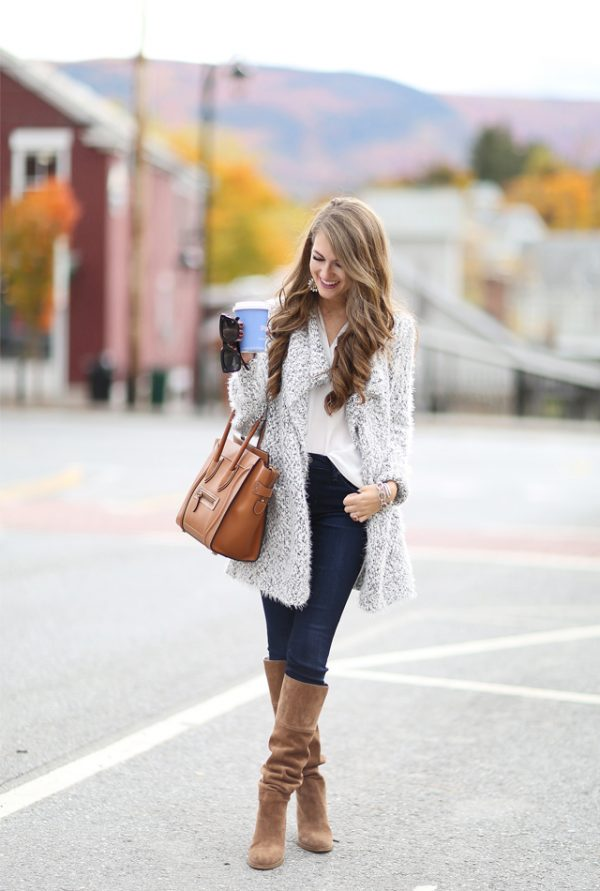 dark wash jeans brown boots fall outfit bmodish