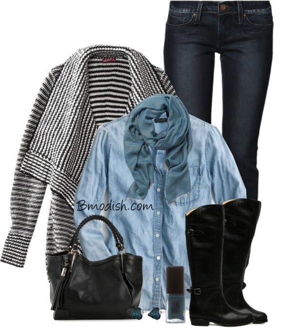 drape front cardigan fall outfit polyvore bmodish