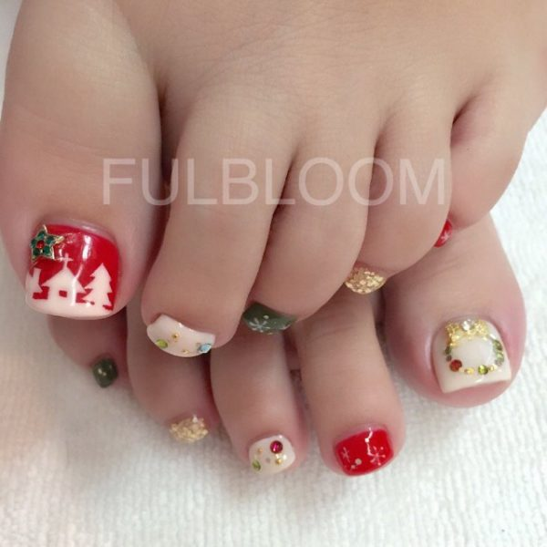 festive christmas toe nails bmodish