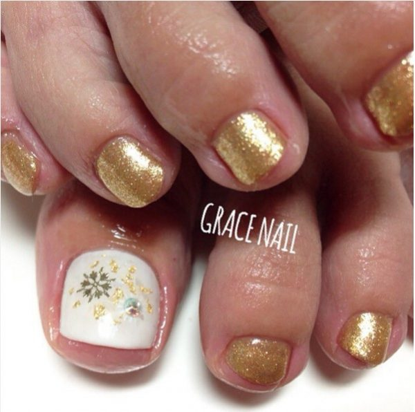 gold toe nail design bmodish