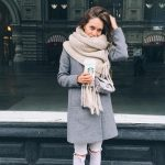 grey coat cozy knit scarf fall winter outfit bmodish