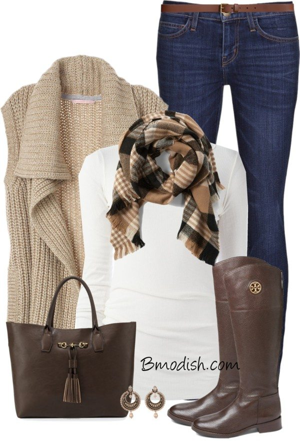 knit vest casual fall outfit polyvore bmodish