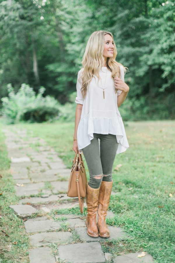 laced riding boots khaki jeans cute fall outfit bmodish