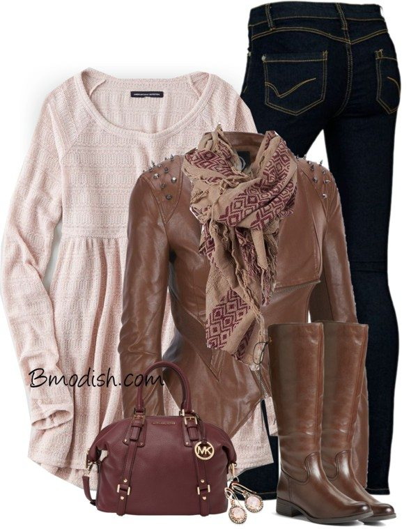 long sweater with studded biker jacket fall outfit