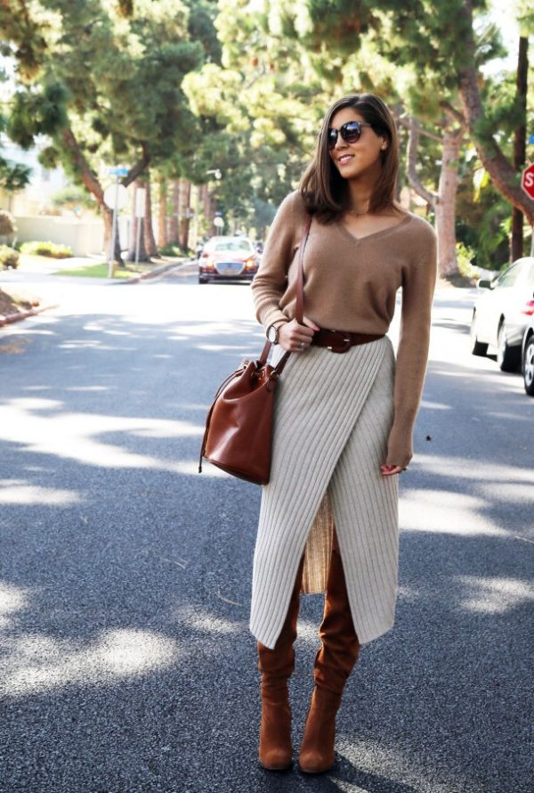 neutral knit wrap skirt brown boots fall outfit bmodish